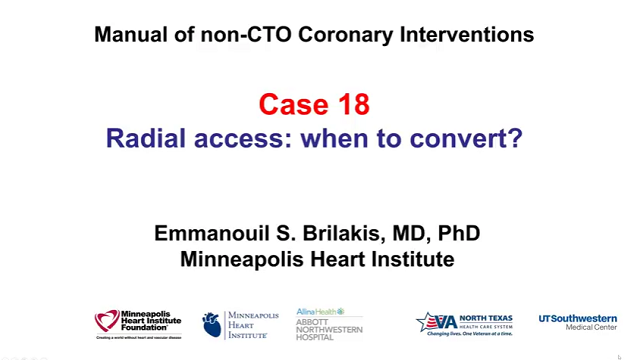 Case 18: Manual of non-CTO interventions: Radial PCI - when to switch?