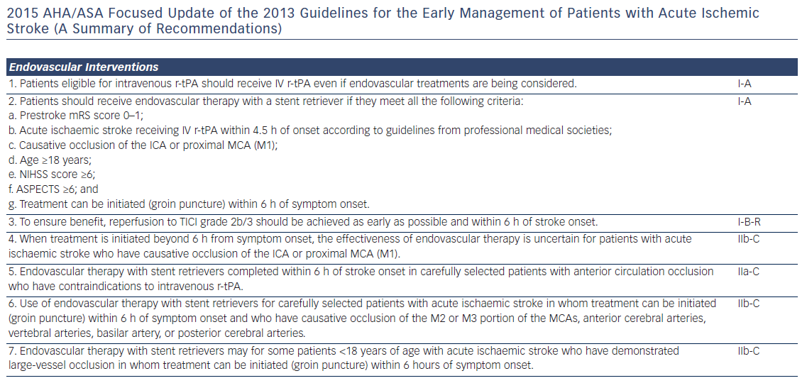 2015 AHA/ASA Focused Update of the 2013 Guidelines for the Early Management of Patients with Acute Ischemic Stroke