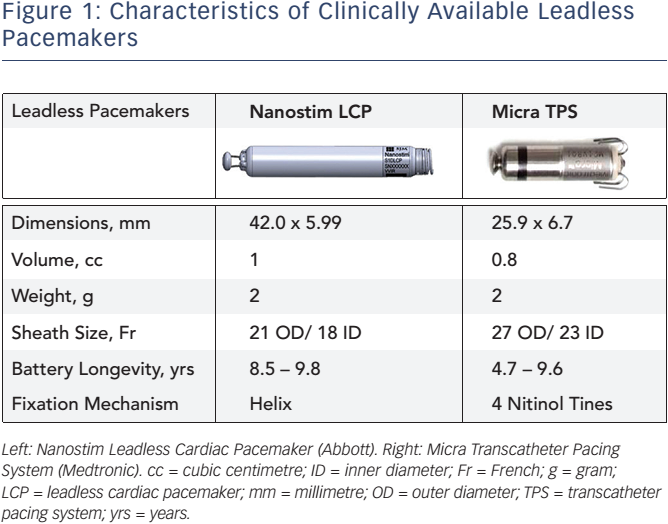 Characteristics of Clinically Available Leadless Pacemakers