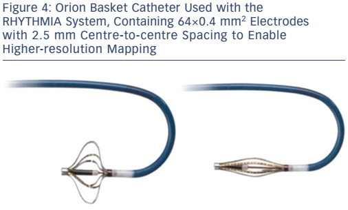 Orion Basket Catheter Used with the RHYTHMIA System, Containing 64×0.4 mm 2 Electrodes with 2.5 mm Centre-to-centre Spacing to Enable Higher-resolution Mapping