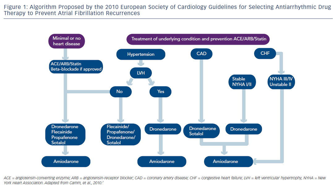 Figure 1: Algorithm Proposed by the 2010 European Society of Cardiology Guidelines for Selecting Antiarrhythmic Drug  Therapy to Prevent Atrial Fibrillation Recurrences