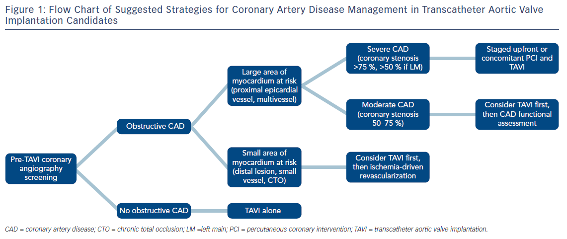Figure 1: Flow Chart of Suggested Strategies for Coronary Artery Disease Management in Transcatheter Aortic Valve Implantation Candidates
