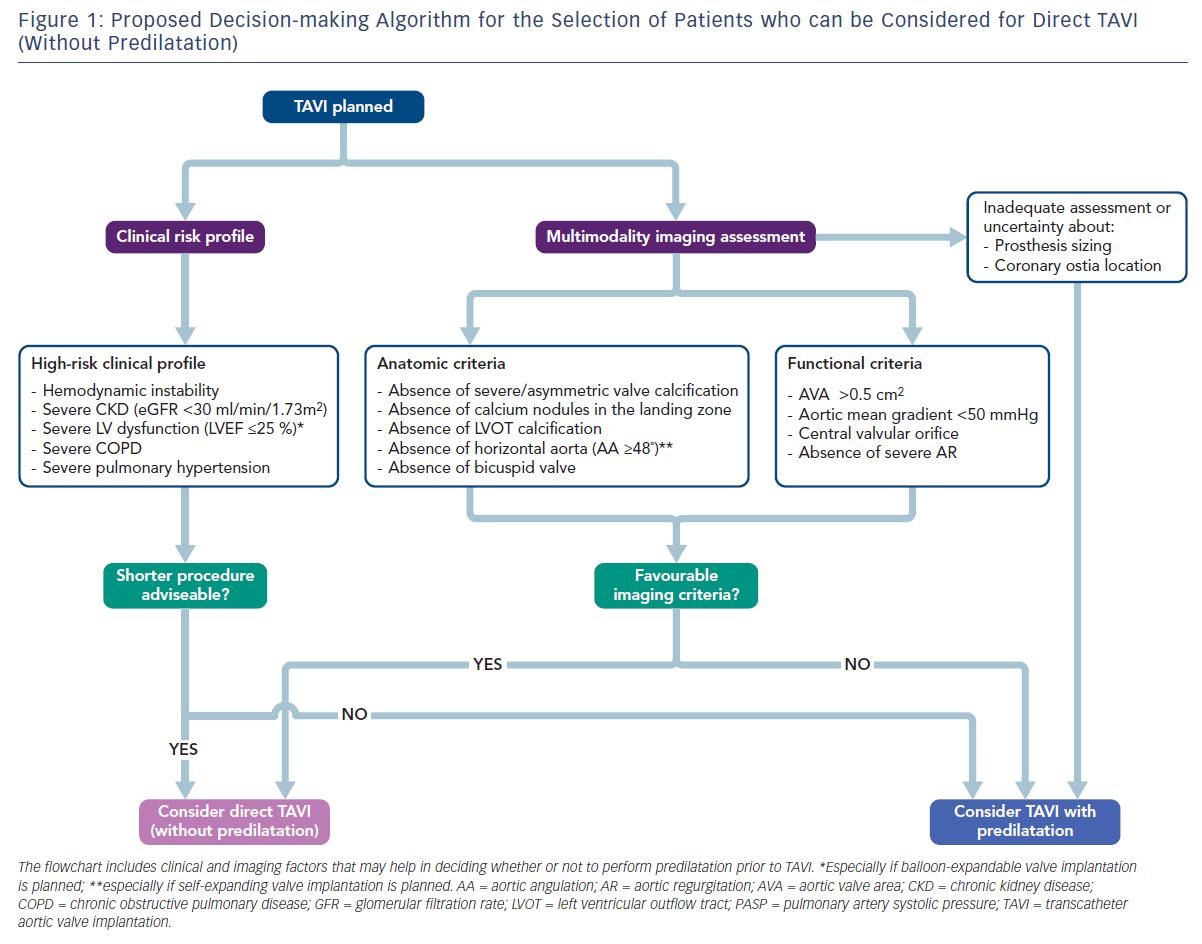 Figure 1: Proposed Decision-making Algorithm for the Selection of Patients who can be Considered for Direct TAVI (Without Predilatation)