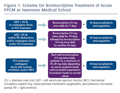 Figure 1: Scheme for Bromocriptine Treatment of Acute PPCM at Hannover Medical School