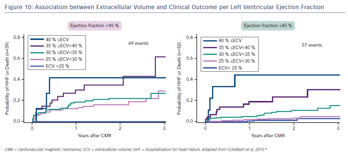 Figure 10: Association between Extracellular Volume and Clinical Outcome per Left Ventricular Ejection Fraction