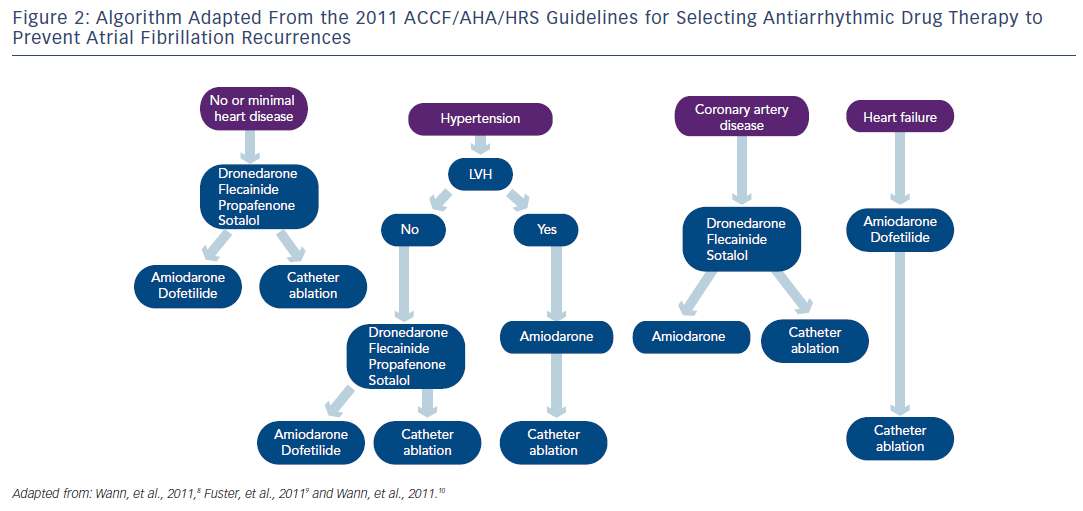 Figure 2: Algorithm Adapted From the 2011 ACCF/AHA/HRS Guidelines for Selecting Antiarrhythmic Drug Therapy to Prevent Atrial Fibrillation Recurrences