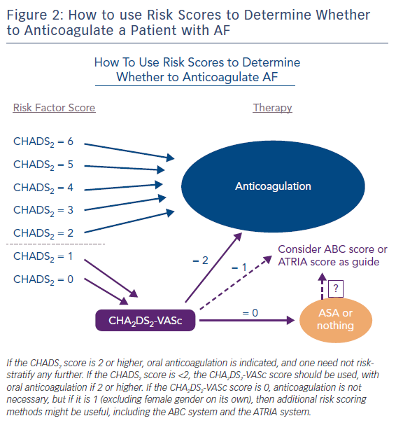 Figure 2: How to use Risk Scores to Determine Whether to Anticoagulate a Patient with AF