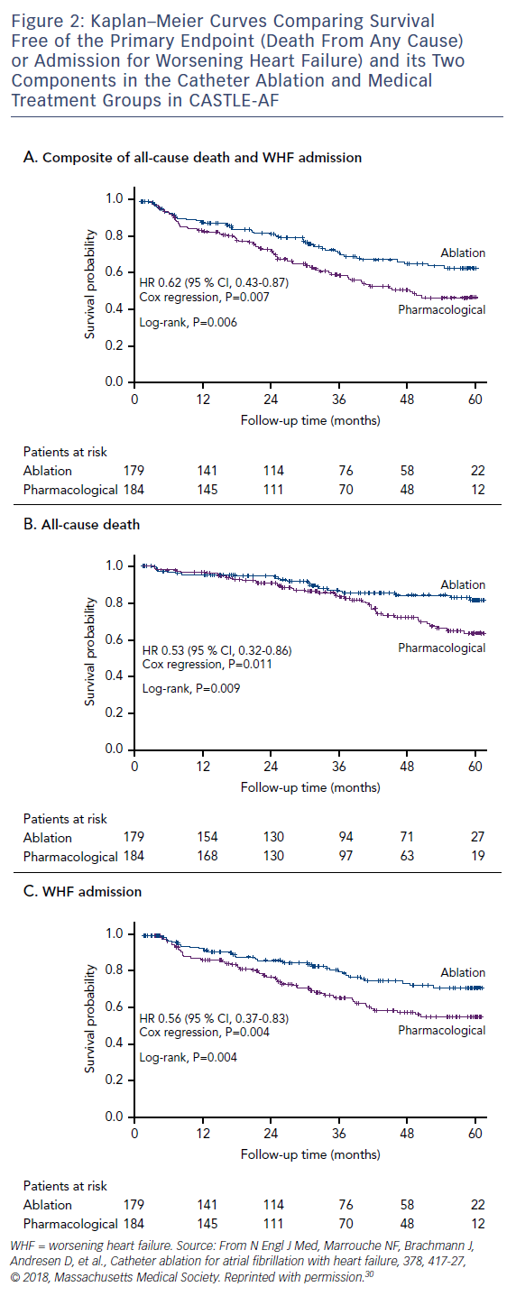 Figure 2: Kaplan–Meier Curves Comparing Survival Free of the Primary Endpoint (Death From Any Cause) or Admission for Worsening Heart Failure) and its Two Components in the Catheter Ablation and Medical Treatment Groups in CASTLE-AF