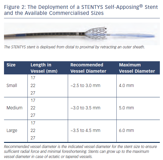 Figure 2: The Deployment of a STENTYS Self-Apposing® Stent and the Available Commercialised Sizes
