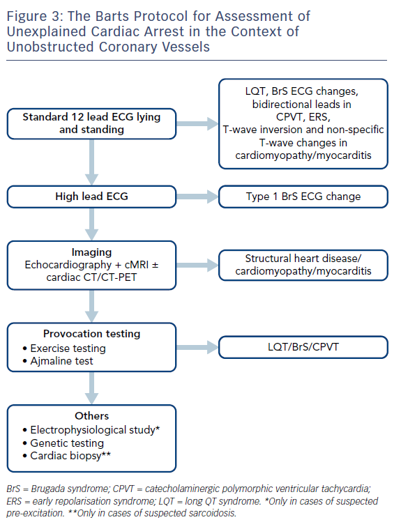 Figure 3: The Barts Protocol for Assessment of<br /> Unexplained Cardiac Arrest in the Context of Unobstructed Coronary Vessels