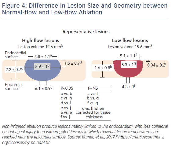 Figure 4: Difference in Lesion Size and Geometry between Normal-flow and Low-flow Ablation