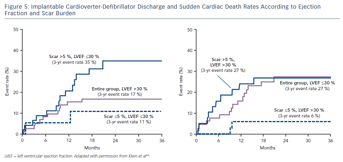 Figure 5: Implantable Cardioverter-Defibrillator Discharge and Sudden Cardiac Death Rates According to Ejection Fraction and Scar Burden