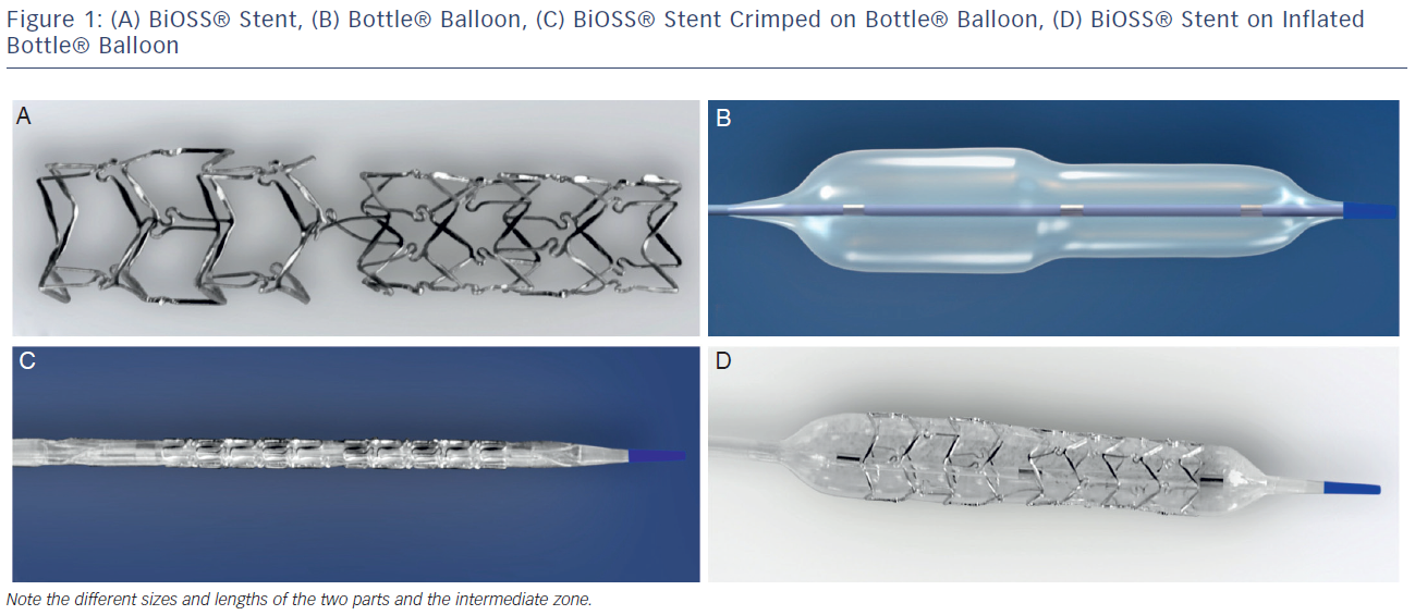 (A)-Stent-(B)-Bottle-(C)-Stent-Crimped-on-Bottle-(D)-Stent-on-Inflated