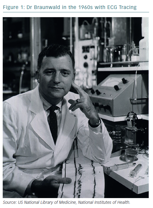 Dr Braunwald in the 1960s with ECG Tracing