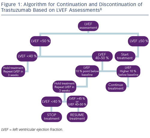 Algorithm for Continuation and Discontinuation of Trastuzumab Based on LVEF Assessments8