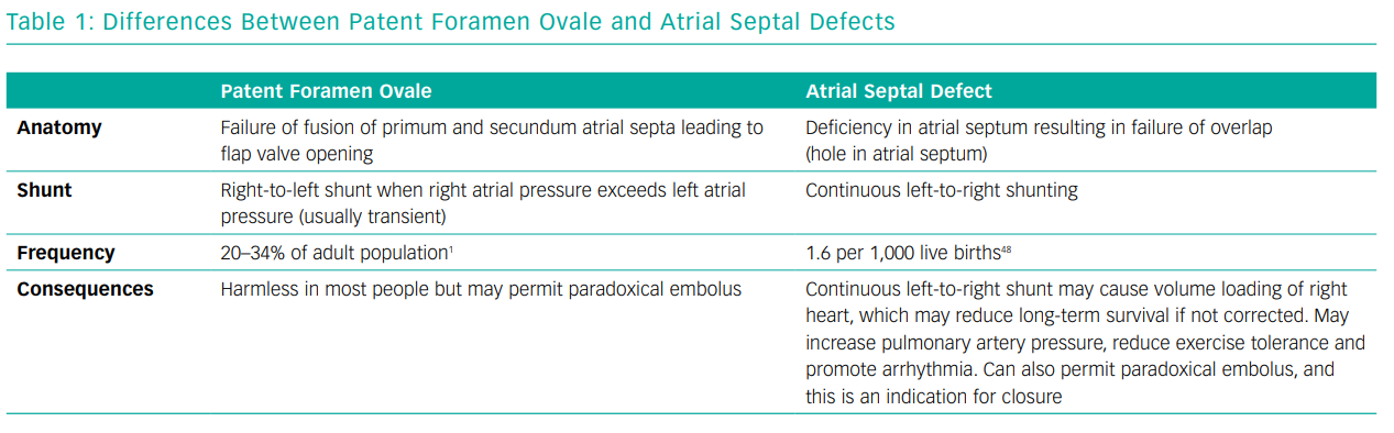 Differences Between Patent Foramen Ovale and Atrial Septal Defects