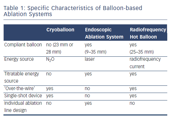 Specific Characteristics of Ballon-based Ablation Systems