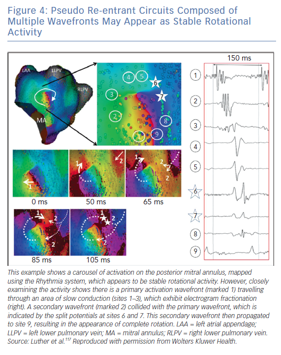 Pseudo Re-entrant Circuits Composed of Multiple Wavefronts May Appear as Stable Rotational Activity