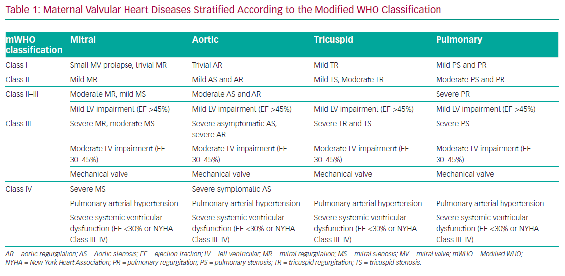 Maternal Valvular Heart Diseases Stratified According to the Modified WHO Classification