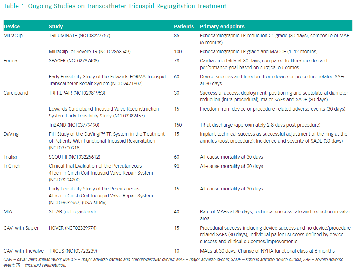 Ongoing Studies on Transcatheter Tricuspid Regurgitation Treatment