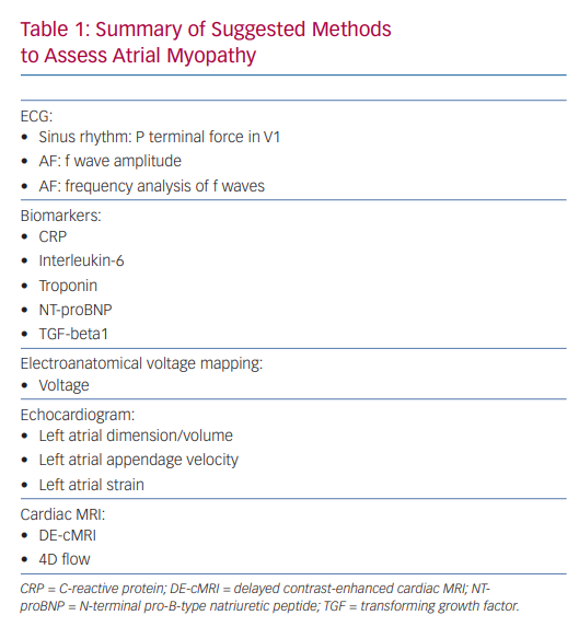 Summary of Suggested Methods to Assess Atrial Myopathy