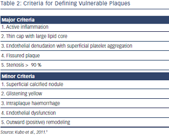 Criteria for Defining Vulnerable Plaques