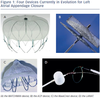 Four Devices Currently in Evolution for Left Atrial Appendage Closure
