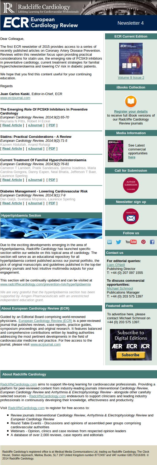 European Cardiology Review (ECR) Newsletter 4