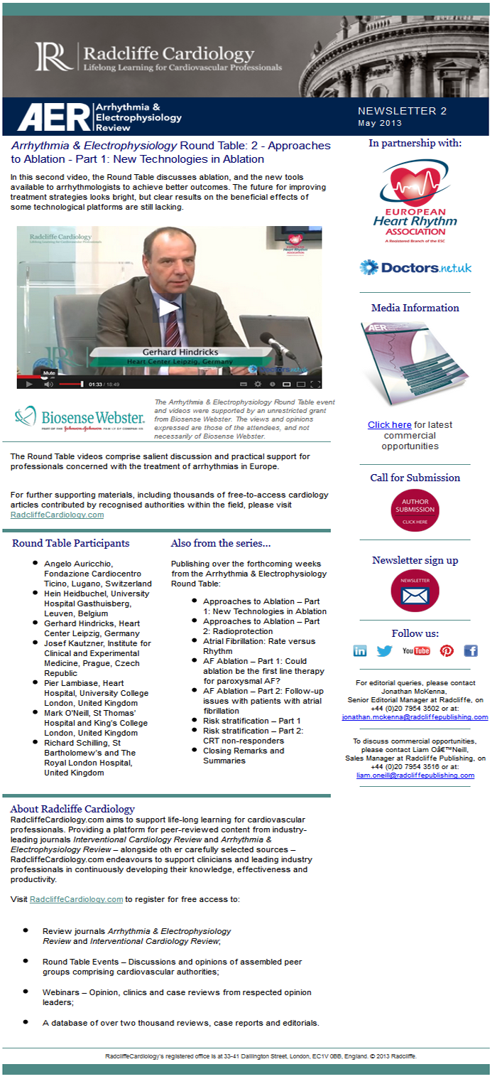 AER Newsletter 2: Round Table 2 - Approaches to Ablation