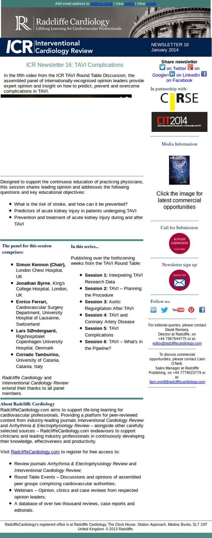 ICR Newsletter 16: TAVI Complications | RadcliffeCardiology