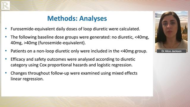 HFA 2020: Dapagliflozin and diuretic use in patients with HFrEF in DAPA-HF — Dr Alice M Jackson